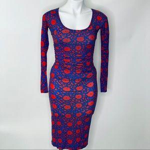 Plenty by Tracy Reese Red Blue Pencil Dress Sz XS